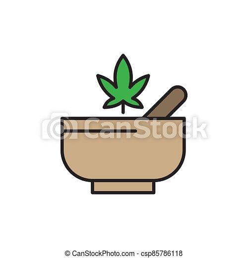 Hemp bowl vector icon symbol isolated on white background - csp85786118