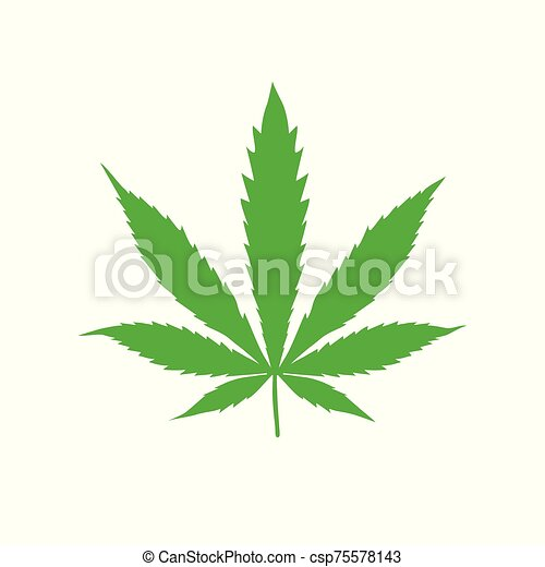 Hemp sign illustration. Vector. Green icon on a white background. - csp75578143