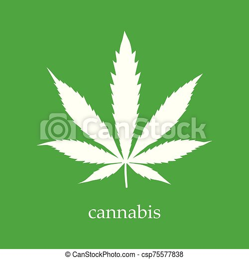Hemp sign illustration. Vector. White icon on a green background. - csp75577838