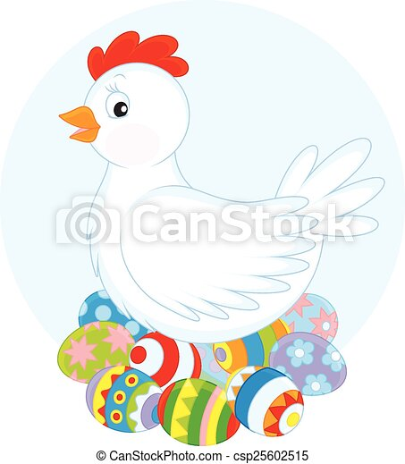 Hen and Easter eggs - csp25602515