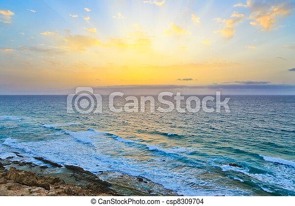 hen, atlantisk, solopgang, havet - csp8309704