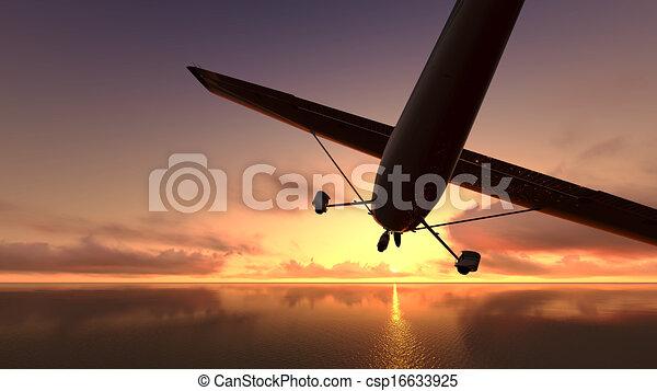 hen, flyvemaskine, ocean. - csp16633925