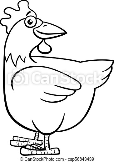 hen or chicken farm character coloring book