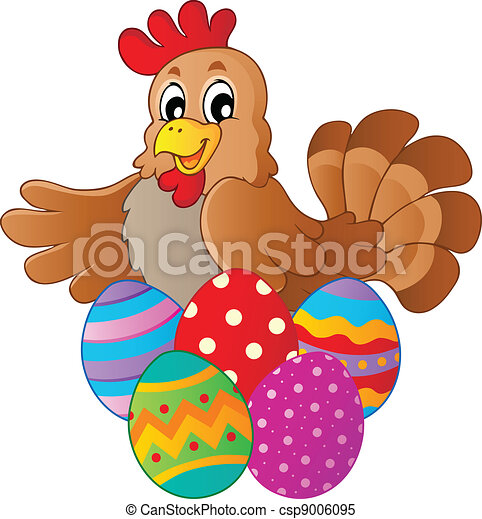 Hen with various Easter eggs - csp9006095