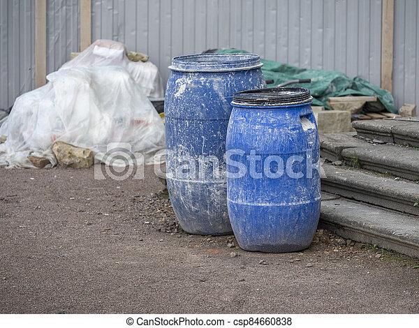 hengerek, műanyag, szerkesztés hely, kék - csp84660838