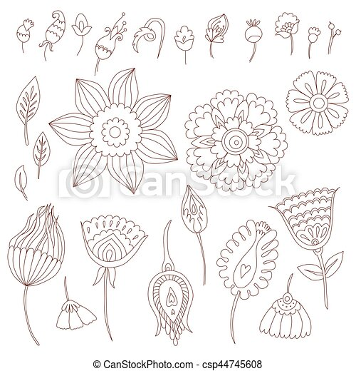 Henna Designs Hand Drawn Elements Isolated On White Background