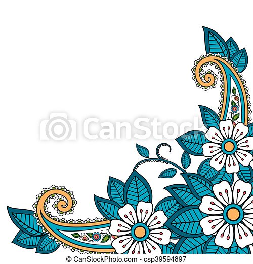 henna flower and paisley background vector illustration eps vectors rh canstockphoto com paisley clipart free paisley clip art free