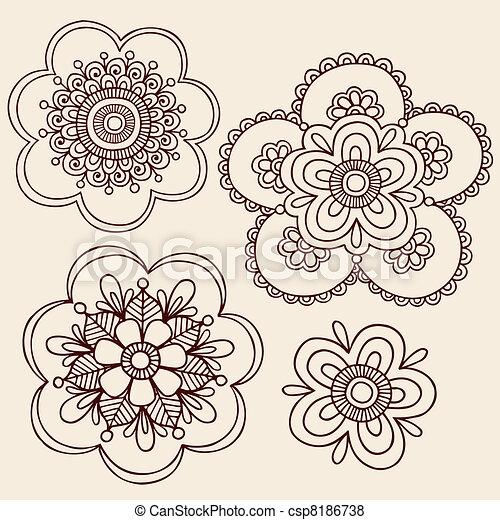 Henna Flower Doodle Vector Designs Henna Mendhi Mandala Paisley