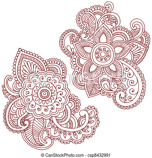 Henna Flower Doodles Vector Design Henna Mehndi Doodles Abstract