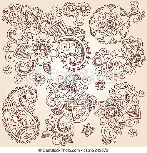 Henna Flower Tattoo Design Elements Henna Paisley Flowers Mehndi