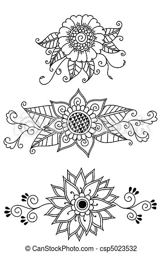 Henna Flowers Hand Drawn Henna Floral Elements Colors Can Be Easily
