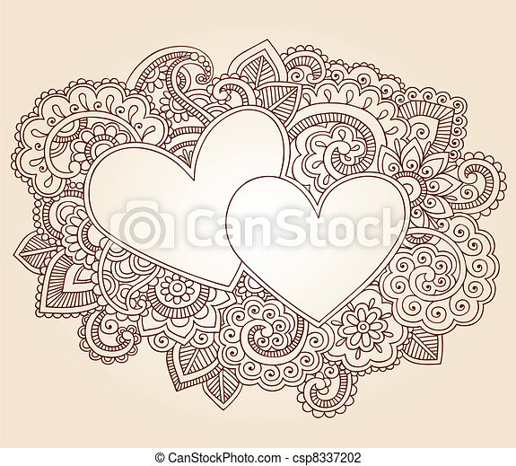Henna Love Hearts Valentines Doodle
