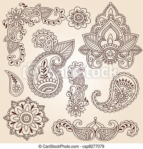 Henna Mehndi Doodle Design Elements - csp8277079