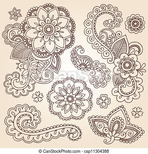 Henna Mehndi Paisley Flower Doodles - csp11304388
