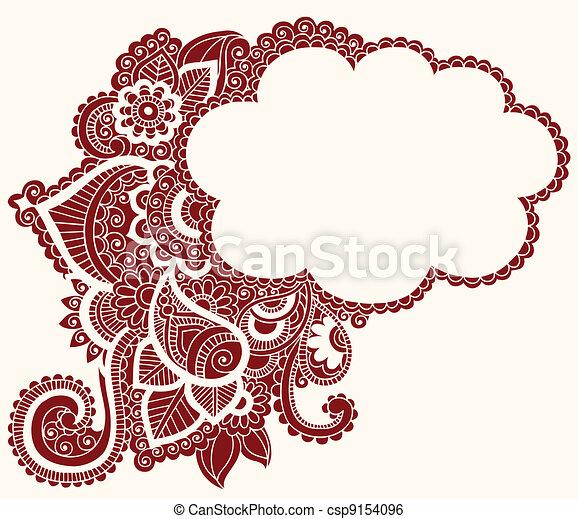 Henna Mehndi Tattoo Doodles Cloud Hand Drawn Henna Paisley Flowers