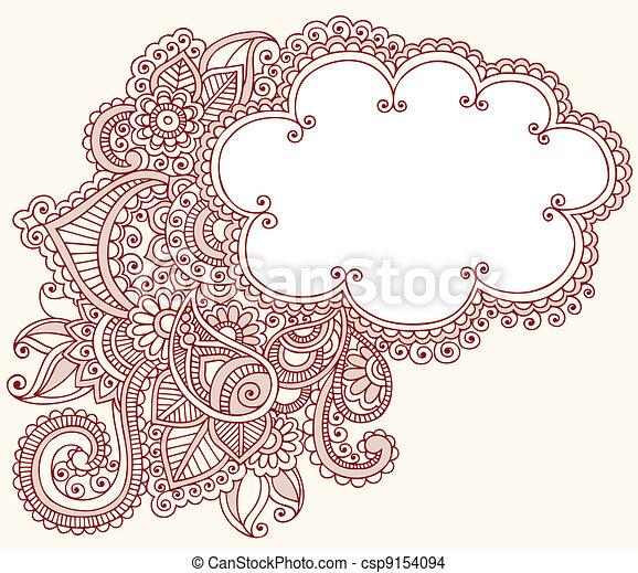 Henna Mehndi Tattoo Doodles Cloud - csp9154094