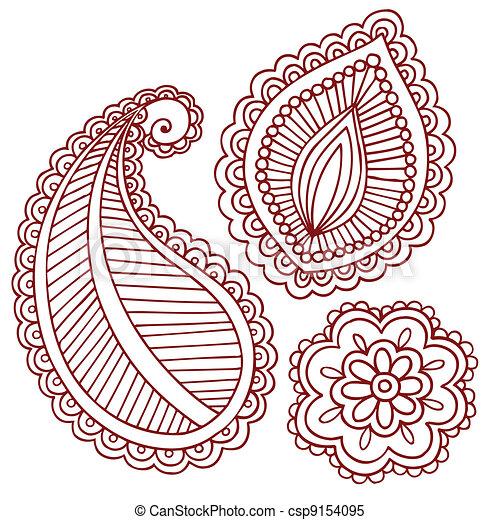 Henna Mehndi Tattoo Doodles Vector - csp9154095