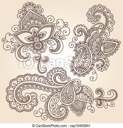 Henna Mehndi Tattoo Doodles Vector - csp10405941