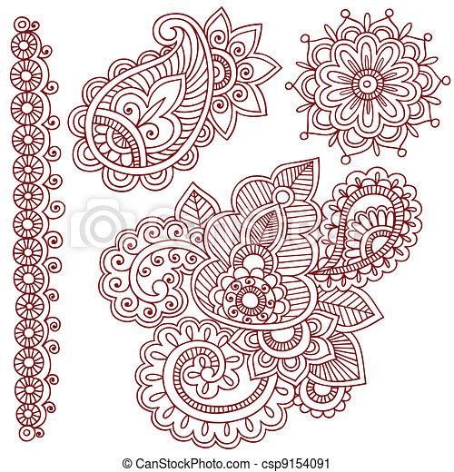 Henna Mehndi Tattoo Doodles Vector - csp9154091