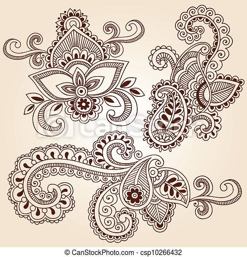Henna Notebook Doodles Vector Set - csp10266432