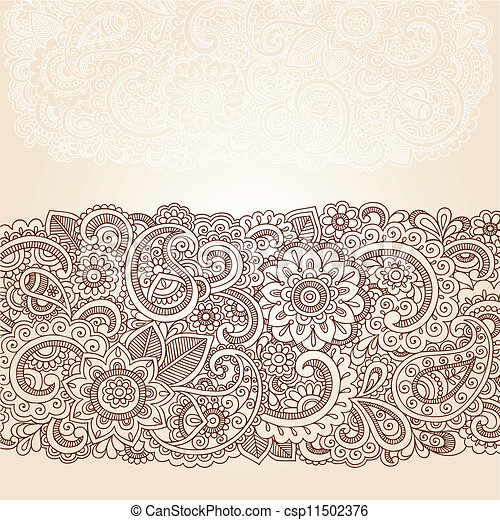 Henna Paisley Flowers Border Design Henna Flowers And Paisley