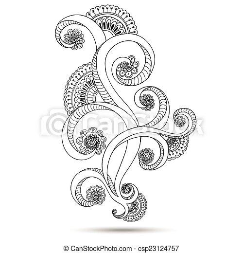 Henna Paisley Mehndi Doodles Design Element. - csp23124757