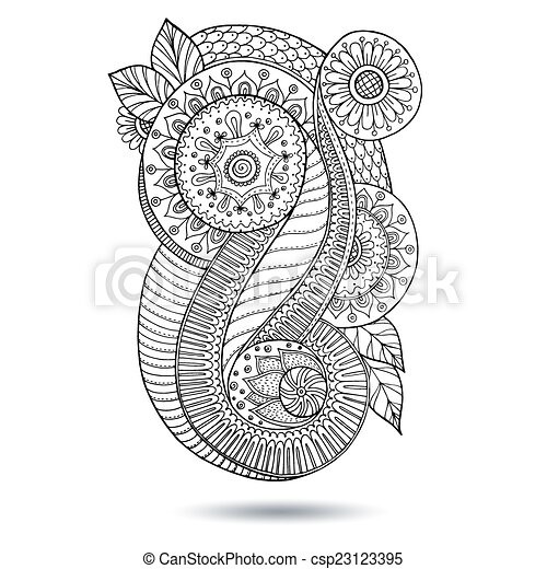 Henna Paisley Mehndi Doodles Design Element. - csp23123395