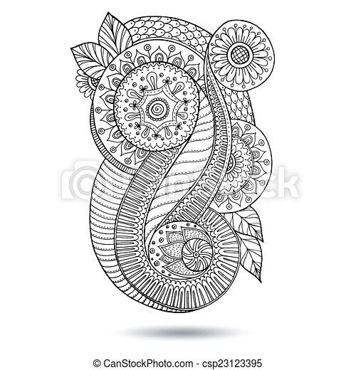 Henna Paisley Mehndi Doodles Design Element. - csp23123395