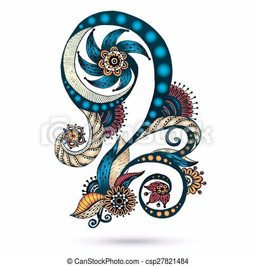 Henna Paisley Mehndi Doodles Design Element. - csp27821484