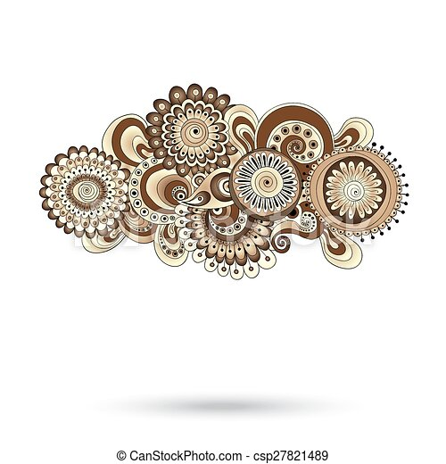 Henna Paisley Mehndi Doodles Design Element. - csp27821489