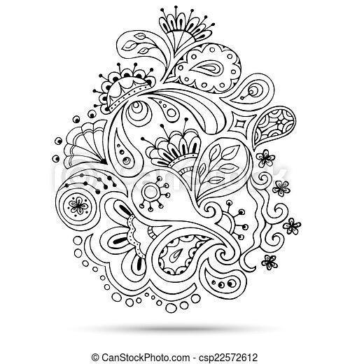 Henna Paisley Mehndi Doodles Design Element. - csp22572612