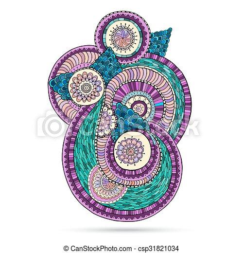 Henna Paisley Mehndi Doodles Floral Element. - csp31821034