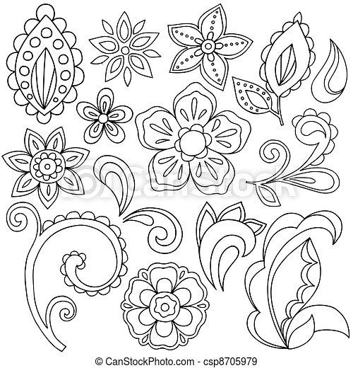 Henna Paisley Tattoo Doodles Vector - csp8705979