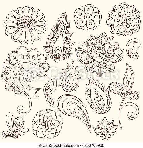 Henna Paisley Tattoo Doodles Vector - csp8705980