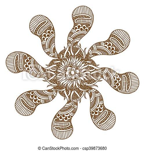 2399155ac Circular floral ornament mehndi henna tattoo mandala, yantra brown ...