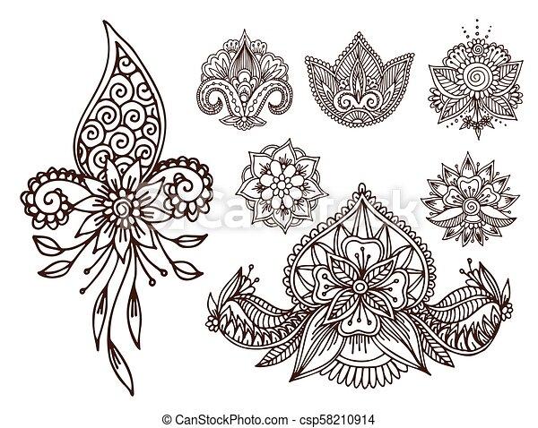 Henna Tattoo Mehndi Flower Doodle Ornamental Decorative Indian Design Pattern Paisley Arabesque Mhendi Embellishment Vector Canstock Incredible henna art that you gotta see! https www canstockphoto com henna tattoo mehndi flower doodle 58210914 html