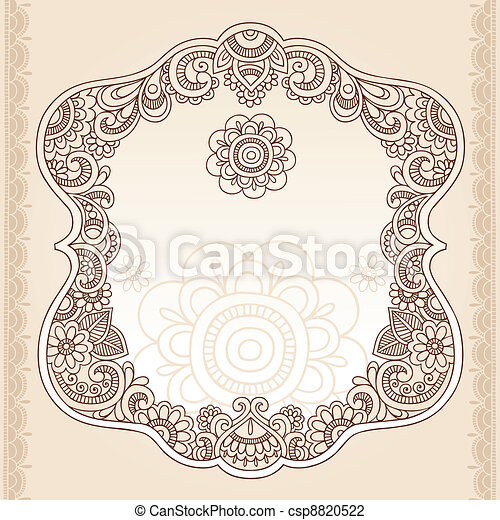 Henna Tattoo Paisley Doodle Frame - csp8820522