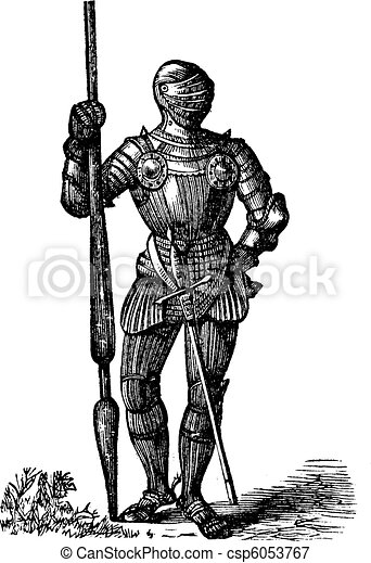 Henry VII armor, King of England, old engraving - csp6053767