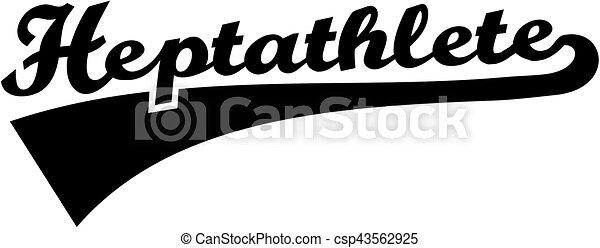 Heptathlete retro word - csp43562925