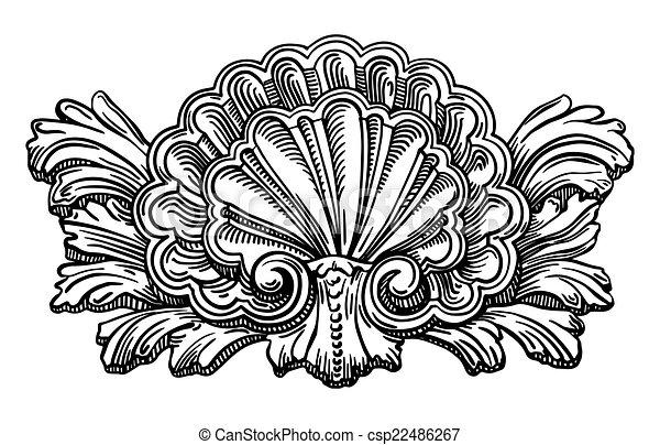 heráldica, esboço, concha, isolado, calligraphic, molusco, whit, desenho - csp22486267