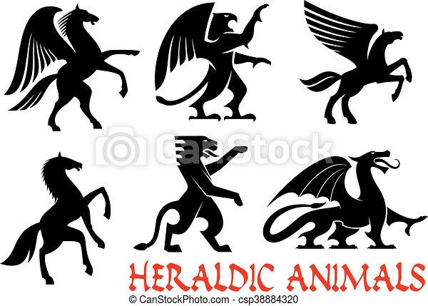 heráldico, animales, emblemas, iconos - csp38884320