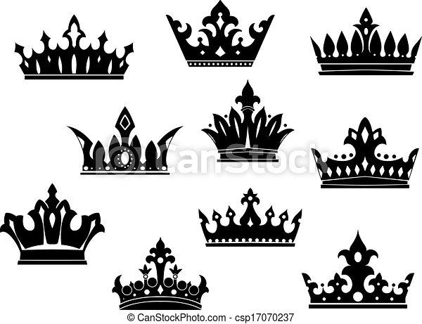 Heráldico Conjunto Negro Coronas Conjunto Heráldico Aislado