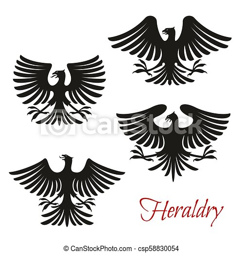 Heraldic black eagle, falcon or hawk bird symbol. Heraldic ...