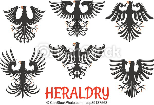 Heraldic Black Eagles With Raised Wings Black Eagles Heraldic Birds