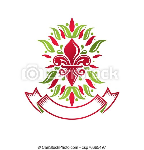Heraldic coat of arms decorative emblem with lily flower, eco product quality. Isolated vector illustration. - csp76665497