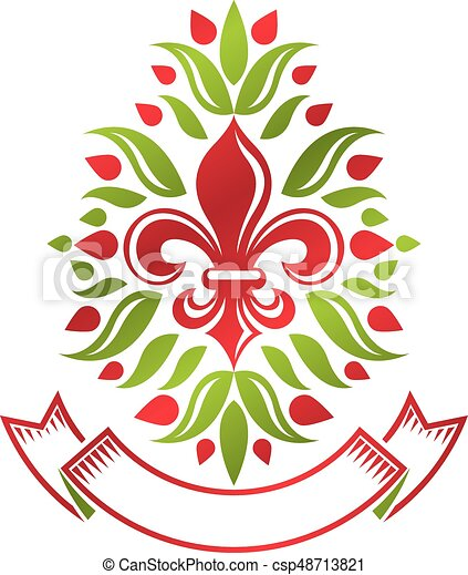 Heraldic coat of arms decorative emblem with lily flower, eco product quality. Isolated vector illustration. - csp48713821