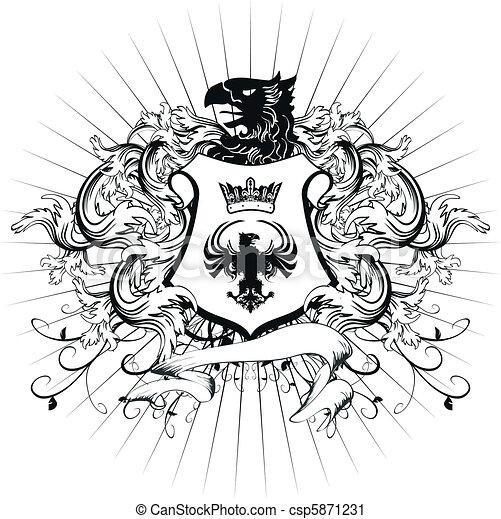 heraldic coat of arms ornament 3 - csp5871231
