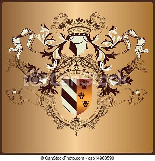 Heraldic element with armor, banner - csp14963590
