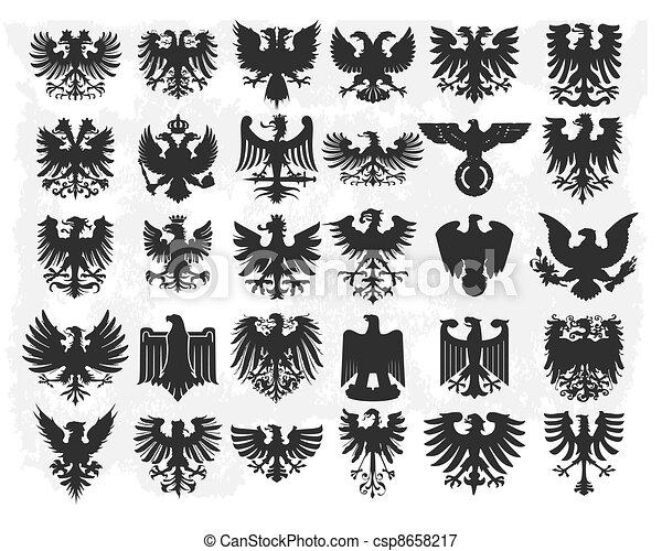 heraldic, elementos, desenho - csp8658217