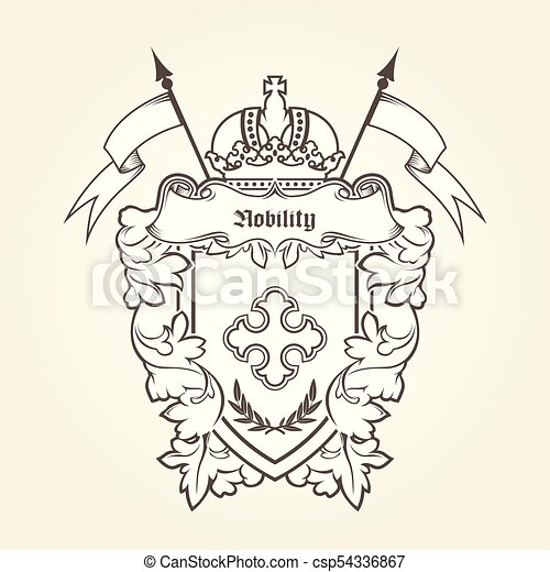 Heraldic emblem - royal coat of arms with imperial symbols, shield and crown - csp54336867